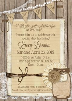 rustic gender neutral baby shower invitation with burlap lace and mason jar printable 5x7