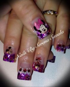Nailed Down's Mickey & Minnie Nails! Check out thee creative Glitter Mickey and Minnie Nails Purple glitter, Mickey Mouse, Minnie Mouse, Disney Nail Art, Cartoon Nail Art