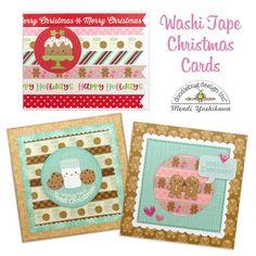 Doodlebug Design Milk & Cookie Washi Tape Holiday Christmas Cards by Mendi Yoshikawa