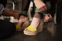 #MMissoni | STRAPPY YELLOW  VELVET SANDALS | #Spring15 #Collection
