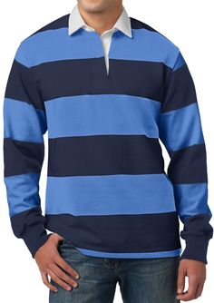 6f5424e29 Mens Premium Long Sleeve Rugby Polo Shirt  fashion  clothing  shoes   accessories