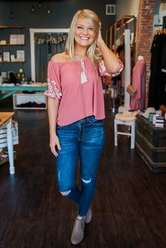 Off The Shoulder Bishop Sleeve Tie Neckline Cropped Top – UOIOnline.com: Women's Clothing Boutique