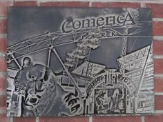 Comerica Park, home of the Detroit Tigers in Etched Metal by Thunder Designs LLC