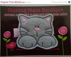 CIJ - Christmasinjuly - Girls Hair Accessories - Felt Hair Clip - Gray And Light Pink Embroidered Boutique Felt Kitty Cat Hair Clippie - An on Etsy, $2.45