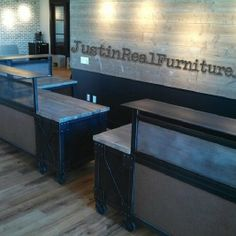 This was an amazing custom designed project working with Surround Architecture on Udi's/Glutino/Boulder Brands awesome space for their new Pearl Street location Boulder,Co. I made three cafe booths with bench seating that feature a beautiful reclaimed douglas fir and a grey patina steel. I also built two mirror image 'L' shaped reception desks. The desks feature a stunning reclaimed grey washed beetle kill pine along with inset paneling that gives it a leather look.