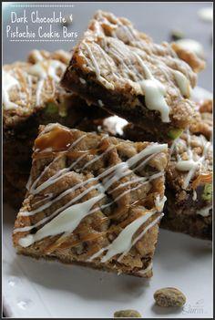 Dark Chocolate & Pistachio Cookie Bars