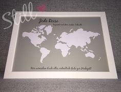 Geldgeschenke - Geldgeschenk *Weltkarte* mit Rahmen - ein Designerstück von Still-Love bei DaWanda 10th Birthday, Happy Birthday, Customizable Gifts, Gift Table, Birthday Invitations, Handmade Invitations, Diy And Crafts, Wedding Gifts, Map