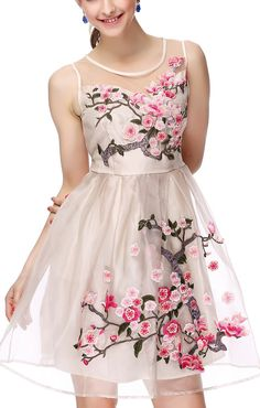 Apricot Embroidered Organza A-line Sleeveless Floral Dress - I can imagine this long for prom, or even a bridesmaid dress.