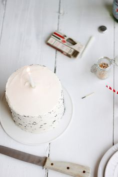 Lemon Poppy Seed Cake with a single candle. #simple