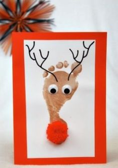 Share this post…These DIY Reindeer Footprint Christmas cards are very very cut… - Rentier basteln Christmas Crafts For Kids To Make, Homemade Christmas Cards, Christmas Activities, Kids Christmas, Handmade Christmas, Holiday Crafts, Reindeer Christmas, Hand Print Christmas Cards, Baby Christmas Cards