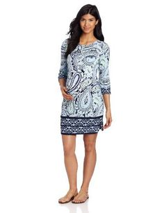 Ali Ro Women's Maternity 3/4 Sleeve Paisley Matte Jersey Dress
