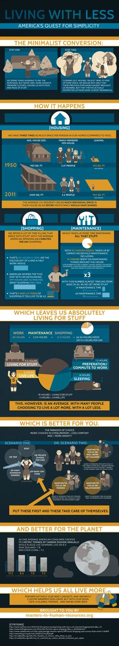 Living With Less infographic - To connect with us, and our community of people from Australia and around the world, learning how to live large in small places, visit Minimal Living, Simple Living, Less Is More, Just In Case, Just For You, Vie Simple, Guter Rat, This Is Your Life, Hippie Man