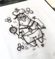 Cool Art Drawings, Pencil Art Drawings, Art Drawings Sketches, Disney Drawings, Cartoon Drawings, Cartoon Art, Cartoon Memes, Spongebob Drawings, Doodle Art Journals