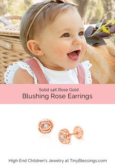 Rose Bud Earring Studs, in 100% 14K Rose Gold. Safe Earrings for Baby and Kids, the ideal gift for any little flower girl. This little Belle loves her Rose Earrings! Safe, Hypoallergenic, comfortable, and gift wrapped beautifully!