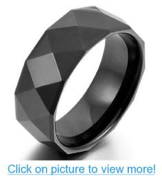 JBlue Jewelry Men's Tungsten Ring Band Black Faceted Classic Polished (with Gift Bag) #JBlue #Jewelry #Mens #Tungsten #Ring #Band #Black #Faceted #Classic #Polished #Gift #Bag