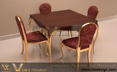 Gold Chairs and Modern Table Dining Room Sets