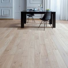 Floor type & colour but not brand (Panaget Oak Parquet Floor Otello clic - Nature Linen) Oak Parquet Flooring, Engineered Wood Floors, Wooden Flooring, Renovation Parquet, Wood Floor Design, French Oak, Country Kitchen, Dining Table, Interior Design