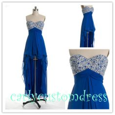 Short Blue High Low Prom Dress/Short Homecoming Dress/Coral Peach Red Navy Blue Black Graduation Dress/Sexy Cheap Beaded Bridesmaid Dress on Etsy, $79.99