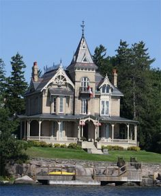 Part of The Thousand Islands, islands on the Canada-U. border in the Saint Lawrence River. Victorian Style Homes, Victorian Houses, Victorian Era, Victorian Architecture, Architecture Details, Amazing Architecture, Old Mansions, Unusual Homes, Amazing Buildings