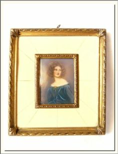 ANTIQUE FRENCH 1900's YOUNG LADY HAND PAINTED MINIATURE PORTRAIT SIGNED !!!.