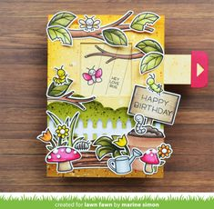 Hello there, Today I'm back with a new Magic Picture Changer card showcasing the new A Bug Deal stamp set . Birthday Greetings, Birthday Cards, Birthday Banners, Farm Birthday, Birthday Invitations, Invites, Birthday Parties, Scrapbook Cards, Scrapbooking