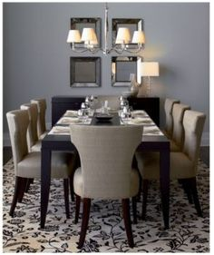 ksek: sasha dining chair  espresso modern dining table, sasha chair and beveled mirrors.