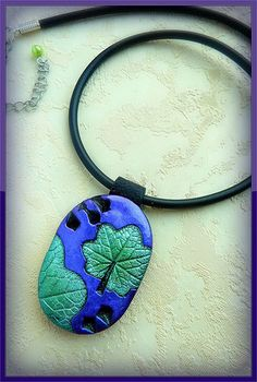 SOLD - polymer clay made with nasturtium leaves