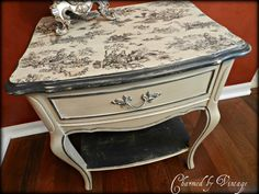The pattern on top of this is called Toile and it's traditional french provincial. Standard colors come in red, blue and black. Fabric can be purchased at most fabric stores. If you're going to Joann's, go online and print a coupon before purchasing. Hand Painted Furniture, Paint Furniture, Repurposed Furniture, Shabby Chic Furniture, Furniture Projects, Furniture Making, Furniture Makeover, Vintage Furniture, Painted End Tables