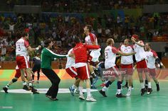 Denmark celebrates defeating France 28-26 to win the gold medal in Men's Handball on Day 16 of the Rio 2016 Olympic Games at Future Arena on August 21, 2016 in Rio de Janeiro, Brazil.
