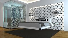 Levitas Design EXO Floating Bed. Black and White Boutique Style.