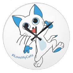 Guilty Cats - I Love My Cats Clock - cat cats kitten kitty pet love pussy