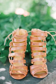 Tan, lace-up heels