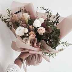 blush pink and green bouquet, floral arrangement, flowers via Fresh Flowers, Beautiful Flowers, Pink Flowers, Brown Flowers, Elegant Flowers, Wedding Bouquets, Wedding Flowers, Bouquet Flowers, Pink Bouquet