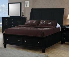 Sandy Beach Country Black Queen Storage Bed