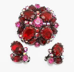Vintage Juliana Brooch and Earrings Ruby Red by HeirloomBandB on Etsy https://www.etsy.com/listing/107815609/vintage-juliana-brooch-and-earrings-ruby