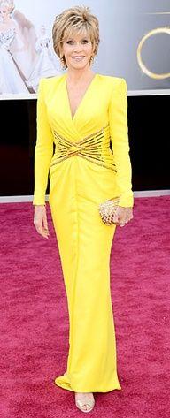 Jane Fonda in a lemon gown and Chopard jewels, 2013 Oscars #WendyRedCarpet