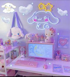 Cute Room Ideas, Cute Room Decor, Neon Room, Pink Room, Room Design Bedroom, Room Ideas Bedroom, Kawaii Games, Kawaii Bedroom, Gaming Room Setup