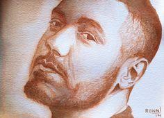 'Jonathan Wolpert'.  ink portrait - 13cm x 18cm - paper