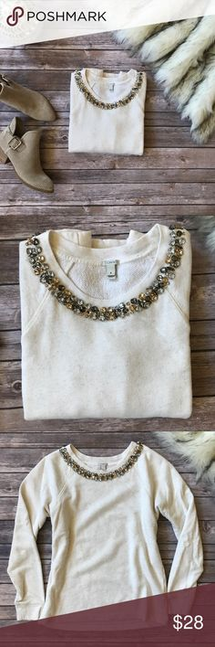 💗Beautiful J.Crew sequined neck sweater💗 Beautiful J.Crew sequined neck sweater in size S please see pics with measurements, please note that one sequin in missing from the back, otherwise item in inspected very carefully there is no lose threads. J. Crew Sweaters