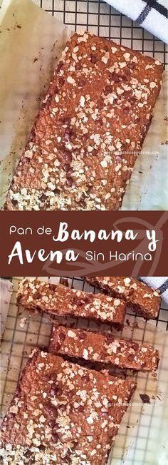 Pan de banana y avena sin harina refinada Banana and oatmeal bread without refined flour Healthy Recepies, Vegan Recipes Easy, Healthy Desserts, Raw Food Recipes, Healthy Dinner Recipes, Sweet Recipes, Cooking Recipes, Manger Healthy, Oatmeal Bread