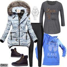 dámska-mikina-modrá-bunda-sivé-tričko-šedé-legíny-členková-obuv-gant