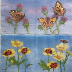 Rare  2(two)different Ladies Mol napkins flowers, butterflies for collectie decoupage,decoupage under glass,scrapbooking and other art door Dalilasdecoupage op Etsy