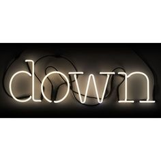 "Add bright, quirky style to any setting with the Seletti ""Down"" neon lamp. The 4 letter neon typography will illuminate your wall with a beautiful glow. -SA. D…"