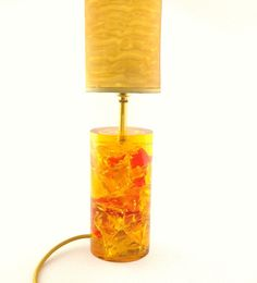 60s Yellow/Orange Shattaline Table Lamp / Crackle by Lambater