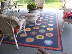 rug painted on concrete: Left of front entry by brick/slit window: painted rug with a few cafe tables/chairs Painted Cement Patio, Painted Concrete Floors, Painted Rug, Patio Paint, Painted Decks, Concrete Patios, Brick Pavers, Small Outdoor Patios, Outdoor Rugs
