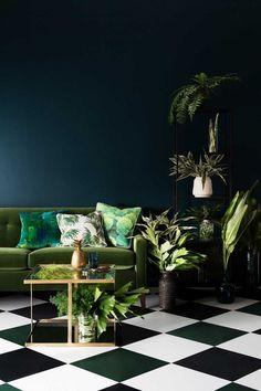 peinture murale bleu ptrole fonc et canap vert - Salon Canape Moderne