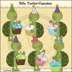 Silly Turtles Cupcakes 1 - Whimsical Clip Art by Cheryl Seslar