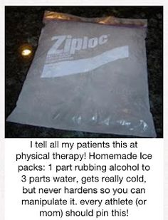 Homemade ice packs - 3 parts water, 1 part rubbing alcohol - gets cold but never hardens