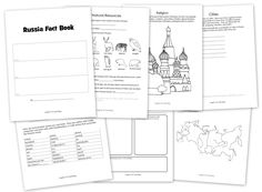 This totally free printable Russia fact book has architecture to color,a flag to color, fill in the blank facts, and more.
