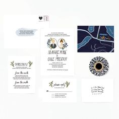 We love the whimsical hand painted illustrated wedding invitations & stationery by Color Me Carla. Illustrated Wedding Invitations, Wedding Invitation Envelopes, Classic Wedding Invitations, Wedding Stationery, Invites, Party Invitations, Wedding Cards, Camp Wedding, Wedding Suite